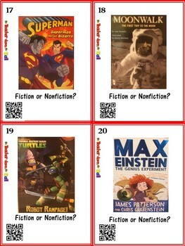 Fiction or Nonfiction Task Cards w/ QR Codes - 24 Cards!