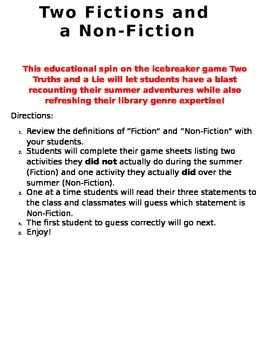 Fiction vs. Non-Fiction Game-Welcome Back to School