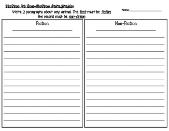 Fiction vs Non-Fiction Paragraph Writing Practice