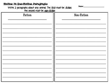 Fiction vs Non-Fiction Paragraph Writing Practice