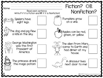 fiction vs nonfiction activities unit by sweet sounds of kindergarten. Black Bedroom Furniture Sets. Home Design Ideas