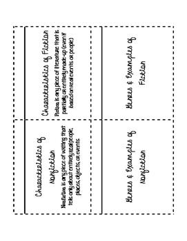 Fiction vs. Nonfiction Foldable
