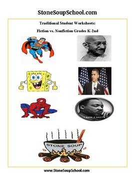 K-2 Compare & Contrast - F vs NF - Traditional Students: Gandhi,Obama,Superman..