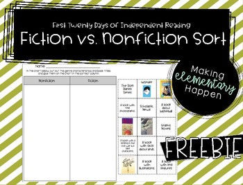 Fiction vs. Nonfiction Sort - Freebie!