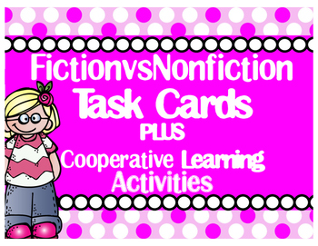EDITABLE Fiction-vs-NonFiction Task Cards with Cooperative Learning Activities
