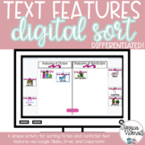 Fiction vs. Nonfiction Text Features Digital Sort for Dist
