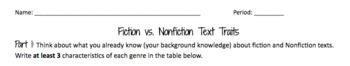 Fiction vs. Nonfiction Text Traits -- CUSTOMIZABLE
