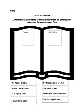 fiction vs nonfiction worksheet by lindsey knehr tpt. Black Bedroom Furniture Sets. Home Design Ideas