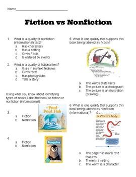 Fiction vs Nonfiction (informational text) Assessment Ready