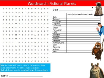 Fictional Planets Wordsearch Puzzle Sheet Keywords Activity Science Physics