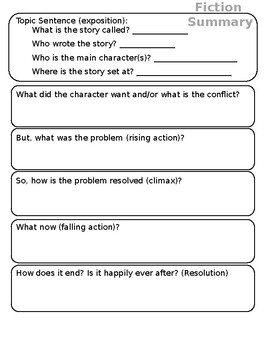 Fictional Summary Graphic Organizer