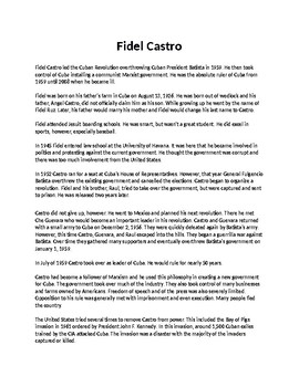 Fidel Castro Biography Article and Assignment Worksheet