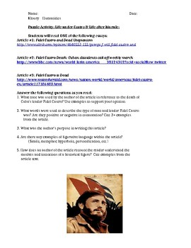 Fidel Castro Collaborative Learning Puzzle Activity