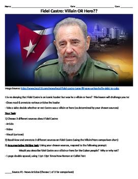 Fidel Castro: Hero OR Villain? (Research and Argumentative Writing lesson)