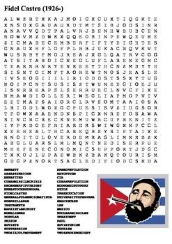 Fidel Castro Word Search