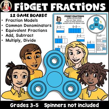 Fidget Fractions: equivalent, multiply, divide, add, subtract, area model