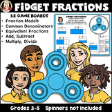 Fidget Fractions: equivalent, multiply, divide, add, subtract, area model
