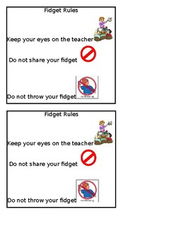 Fidget Rules Reminders
