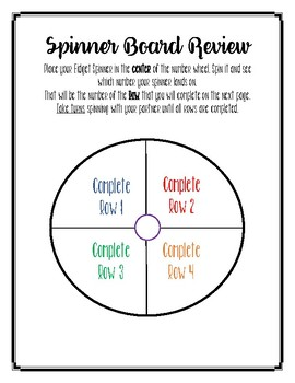 Fidget Spinner 2nd Grade Spiral Math Review