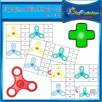 Fidget Spinner Addition (All Facts 0 - 10) Clip Cards