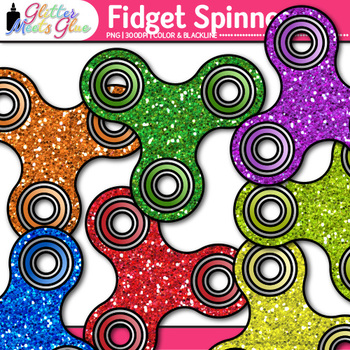 Fidget Spinner Clip Art {Rainbow Stress Reliever Toys for OT Resources}