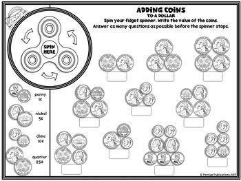 Fidget Spinner Coins US Money Math Stations