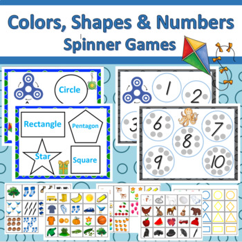 Fidget Spinner Color, Shapes, & Numbers Activities