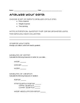 Fidget Spinner Data Collection Activity