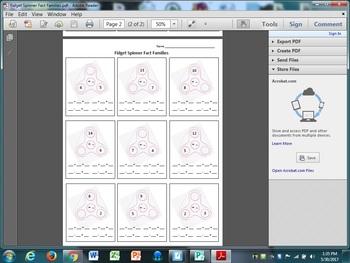 Fidget Spinner Fact Families Worksheet