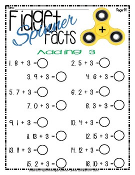 Fidget Spinner Facts - Addition & Subtraction