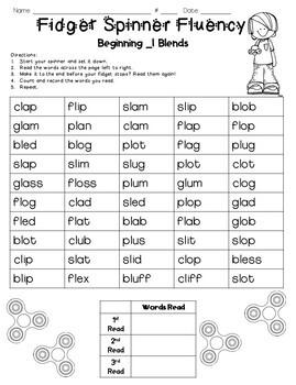 Fidget Spinner Fluency: Blends and Consonant Digraphs
