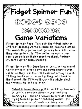 Fidget Spinner Fun Sight Word Edition Fry Words