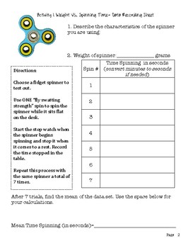 Fidget Spinner Math Investigation Scatter Plots and Data Displays