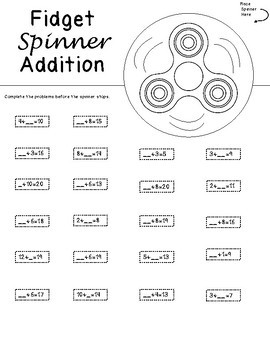 Fidget Spinner Math - Addition and Subtraction