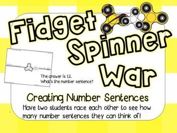 Fidget Spinner Math (Creating Number Sentences)