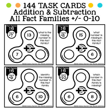 Fidget Spinner Math Fact Task Cards: All Operations BUNDLE