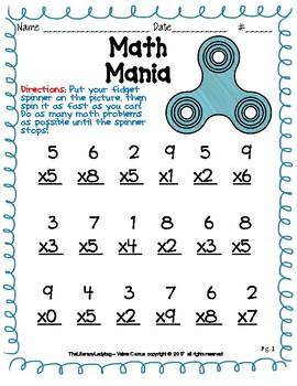Fidget Spinner Math Mania - Multiplication