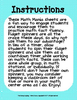 Fidget Spinner Math Mania - Primary