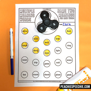 Fidget Spinner Multiple Meaning Words Game! FREEBIE!