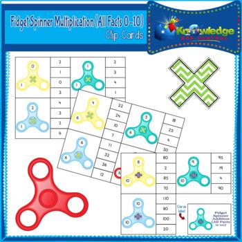 Fidget Spinner Multiplication (All Facts 1 - 10) Clip Cards