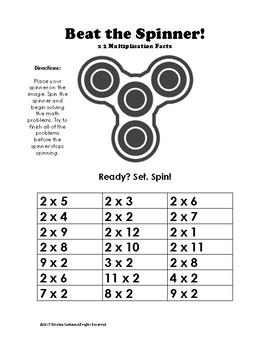 Fidget Spinner Multiplication Fact Fluency