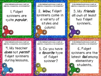 Fidget Spinner Parts of Speech Task Cards and ZAP!
