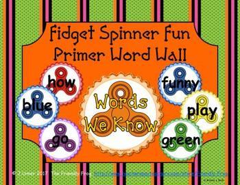 Fidget Spinner Primer Word Wall