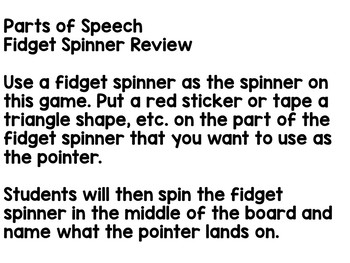 Fidget Spinner Review- Parts of Speech