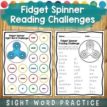 Fidget Spinner Sight Word Challenge Games: Read, Trace, and Write!
