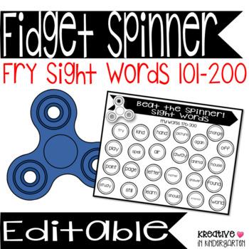 Fidget Spinner Sight Words Fry 101-200
