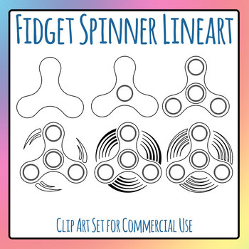 Fidget Spinner Simple Shapes Templates Black and White Clip Art Commercial Use