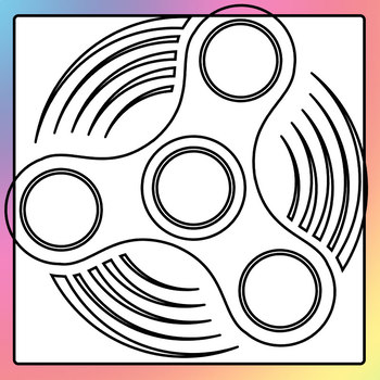 fidget spinner simple shapes templates black and white clip art