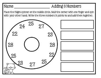 Fidget Spinner - Summer Math Activity For Home Set 3