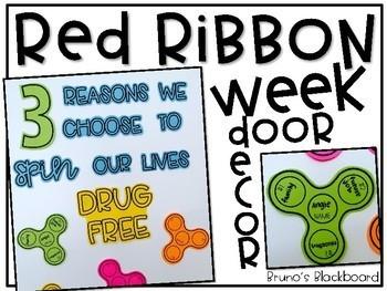 Fidget Spinner Theme Red Ribbon Week Door or Bulletin Board Decorations